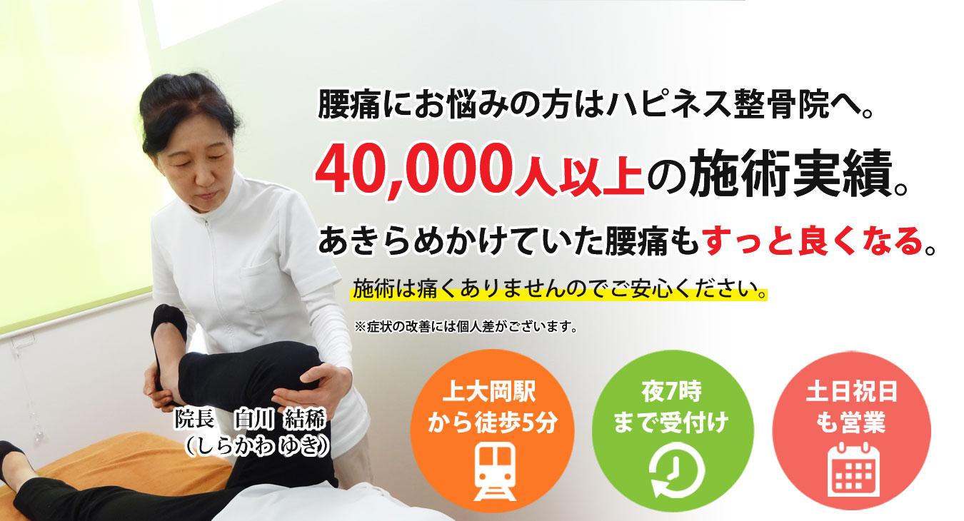 上大岡駅から徒歩5分、腰痛のことはハピネス整骨院へ